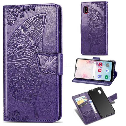 Embossing Mandala Flower Butterfly Leather Wallet Case for Docomo Galaxy A20 (Japanese version, SC-02M, UQ) - Dark Purple