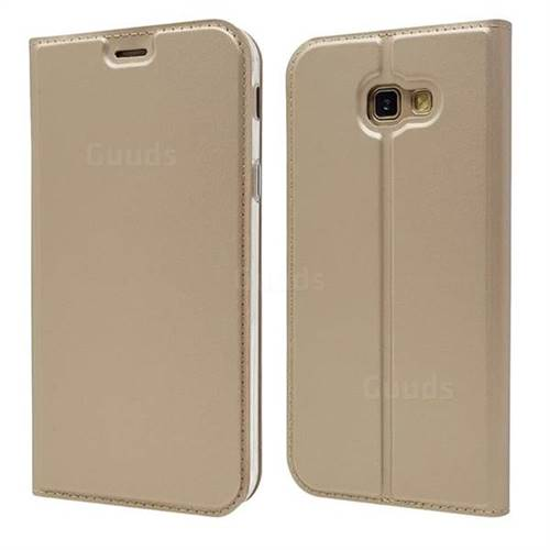Ultra Slim Card Magnetic Automatic Suction Leather Wallet Case for Docomo Galaxy Feel SC-04J - Champagne