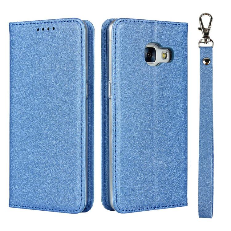 Ultra Slim Magnetic Automatic Suction Silk Lanyard Leather Flip Cover for Docomo Galaxy Feel SC-04J - Sky Blue