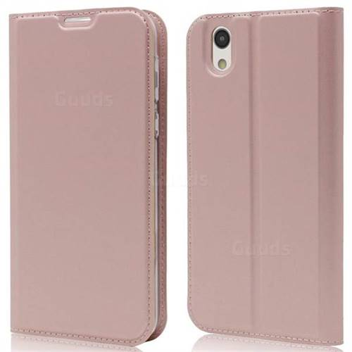 Ultra Slim Card Magnetic Automatic Suction Leather Wallet Case for Sharp AQUOS sense SH-01K / SHV40 - Rose Gold