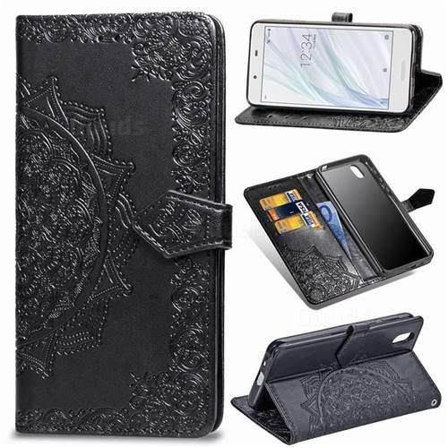 Embossing Imprint Mandala Flower Leather Wallet Case for Sharp AQUOS sense SH-01K / SHV40 - Black