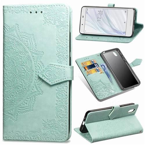 Embossing Imprint Mandala Flower Leather Wallet Case for Sharp AQUOS sense SH-01K / SHV40 - Green