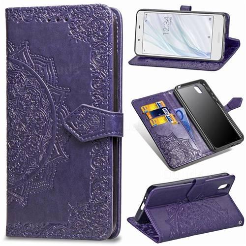 Embossing Imprint Mandala Flower Leather Wallet Case for Sharp AQUOS sense SH-01K / SHV40 - Purple