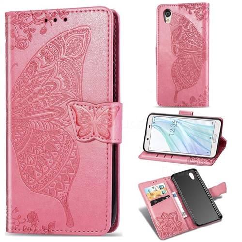 Embossing Mandala Flower Butterfly Leather Wallet Case for Sharp AQUOS sense2 SH-01L SHV43 - Pink