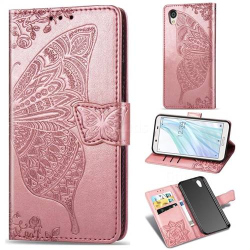 Embossing Mandala Flower Butterfly Leather Wallet Case for Sharp AQUOS sense2 SH-01L SHV43 - Rose Gold