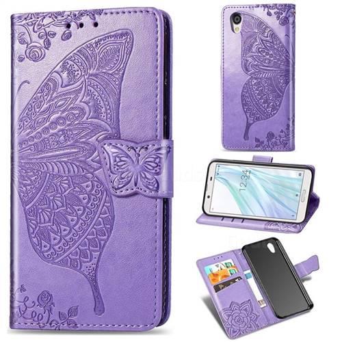 Embossing Mandala Flower Butterfly Leather Wallet Case for Sharp AQUOS sense2 SH-01L SHV43 - Light Purple