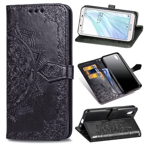 Embossing Imprint Mandala Flower Leather Wallet Case for Sharp AQUOS sense2 SH-01L SHV43 - Black