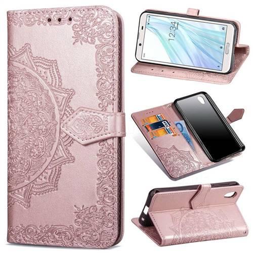 Embossing Imprint Mandala Flower Leather Wallet Case for Sharp AQUOS sense2 SH-01L SHV43 - Rose Gold