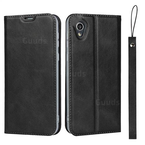 Calf Pattern Magnetic Automatic Suction Leather Wallet Case for Sharp AQUOS sense2 SH-01L SHV43 - Black