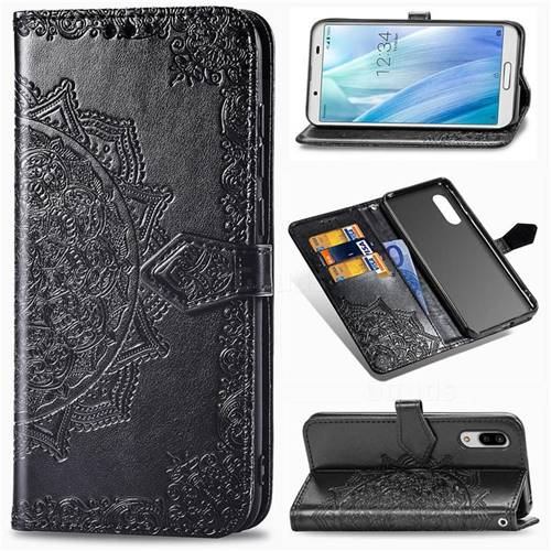 Embossing Imprint Mandala Flower Leather Wallet Case for Sharp AQUOS sense3 SH-02M SHV45 - Black