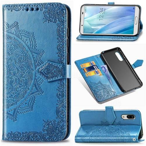 Embossing Imprint Mandala Flower Leather Wallet Case for Sharp AQUOS sense3 SH-02M SHV45 - Blue