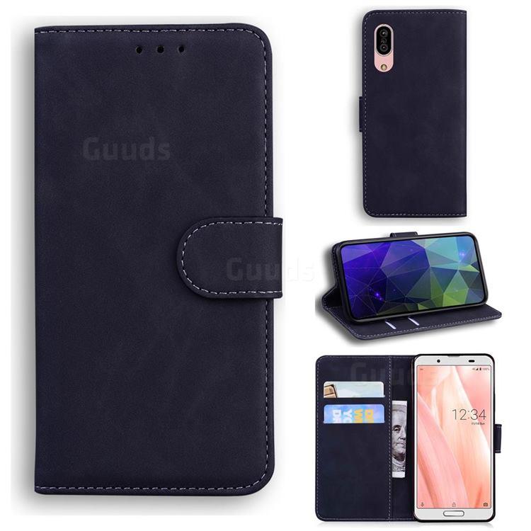 Retro Classic Skin Feel Leather Wallet Phone Case for Sharp AQUOS sense3 SH-02M SHV45 - Black