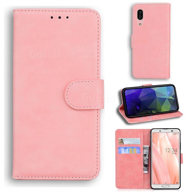Retro Classic Skin Feel Leather Wallet Phone Case for Sharp AQUOS sense3 SH-02M SHV45 - Pink