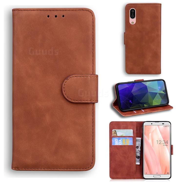 Retro Classic Skin Feel Leather Wallet Phone Case for Sharp AQUOS sense3 SH-02M SHV45 - Brown