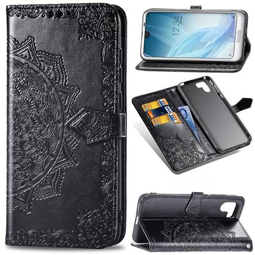 Embossing Imprint Mandala Flower Leather Wallet Case for Sharp AQUOS R2 SH-03K SHV42 - Black
