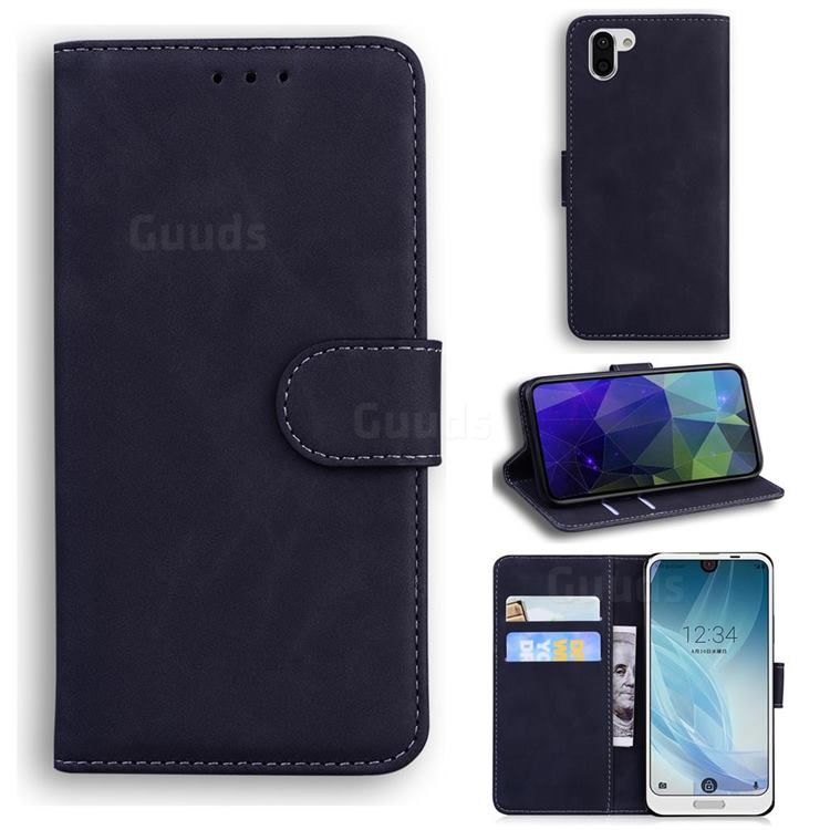 Retro Classic Skin Feel Leather Wallet Phone Case for Sharp AQUOS R2 SH-03K SHV42 - Black