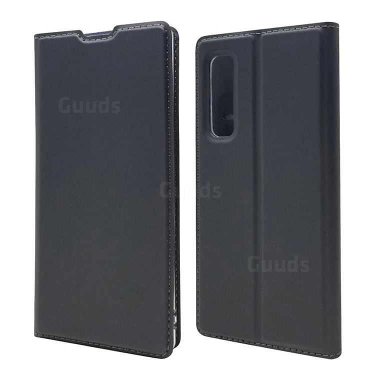 Ultra Slim Card Magnetic Automatic Suction Leather Wallet Case for Fujitsu Arrows NX9 F-52A - Star Grey