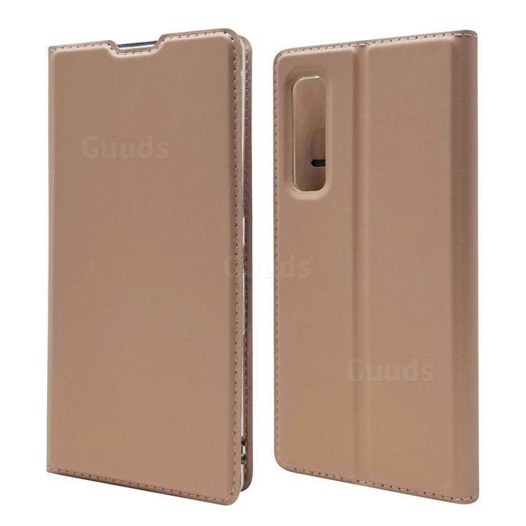 Ultra Slim Card Magnetic Automatic Suction Leather Wallet Case for Fujitsu Arrows NX9 F-52A - Rose Gold
