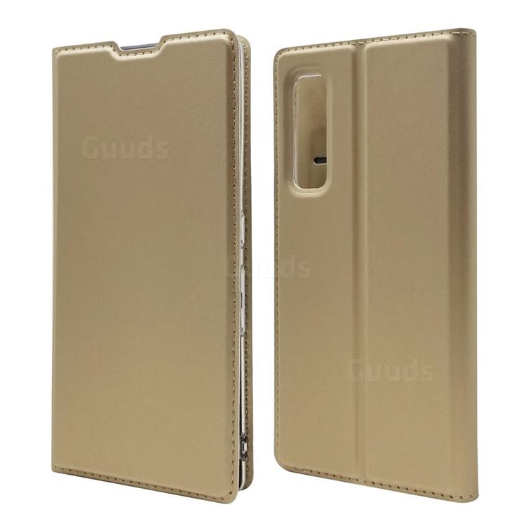 Ultra Slim Card Magnetic Automatic Suction Leather Wallet Case for Fujitsu Arrows NX9 F-52A - Champagne
