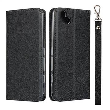 Ultra Slim Magnetic Automatic Suction Silk Lanyard Leather Flip Cover for FUJITSU Arrows U SoftBank - Black
