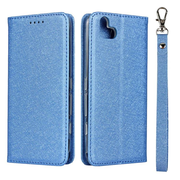 Ultra Slim Magnetic Automatic Suction Silk Lanyard Leather Flip Cover for FUJITSU Arrows U SoftBank - Sky Blue