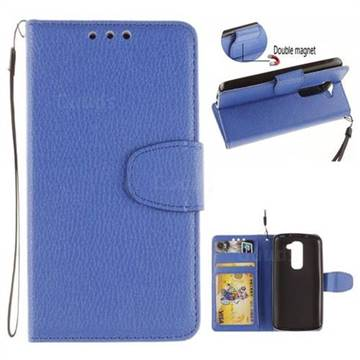 innovative design d66e4 5c098 Litchi Pattern PU Leather Wallet Case for LG G2 Mini D610 D620 D618 - Blue  - Leather Case - Guuds