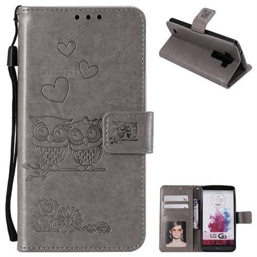 Embossing Owl Couple Flower Leather Wallet Case for LG G3 D850 D855 LS990 - Gray