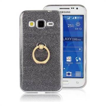 Luxury Soft TPU Glitter Back Ring Cover with 360 Rotate Finger Holder Buckle for Samsung Galaxy Core Prime G360 - Black