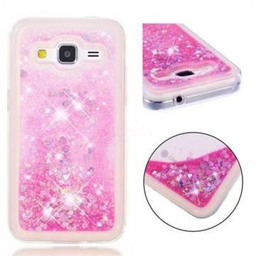 Dynamic Liquid Glitter Quicksand Sequins TPU Phone Case for Samsung Galaxy Core Prime G360 - Rose