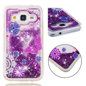 finest selection 42fee cf7a3 Purple Flower Butterfly Dynamic Liquid Glitter Quicksand Soft TPU Case for  Samsung Galaxy Core Prime G360