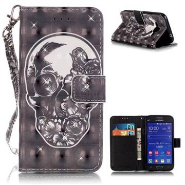 newest 5c96c f346d Flower Skull 3D Painted Leather Wallet Case for Samsung Galaxy Core Prime  G360