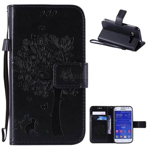Embossing Butterfly Tree Leather Wallet Case for Samsung Galaxy Core Prime G360 - Black