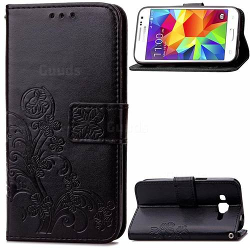 Embossing Imprint Four-Leaf Clover Leather Wallet Case for Samsung Galaxy Core Prime G360 - Black