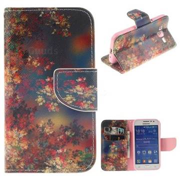 Colored Flowers PU Leather Wallet Case for Samsung Galaxy Core Prime G360