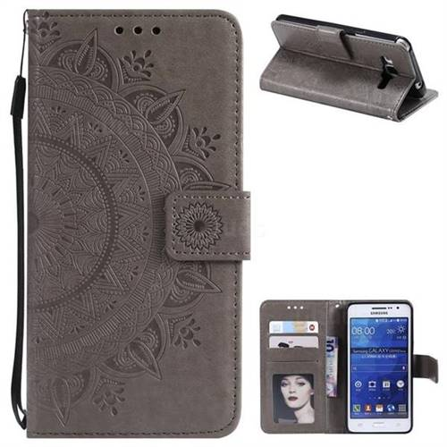 Intricate Embossing Datura Leather Wallet Case for Samsung Galaxy Core Prime G360 - Gray