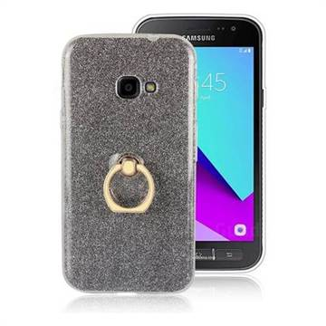 Luxury Soft TPU Glitter Back Ring Cover with 360 Rotate Finger Holder Buckle for Samsung Galaxy Xcover 4 G390F - Black