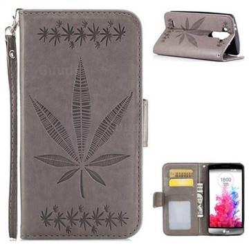 Intricate Embossing Maple Leather Wallet Case for LG G3 Beat Mini G3S D725 D722 D729 B2mini - Gray