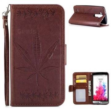 Intricate Embossing Maple Leather Wallet Case for LG G3 Beat Mini G3S D725 D722 D729 B2mini - Brown