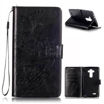 Embossing Butterfly Flower Leather Wallet Case for LG G4 - Black