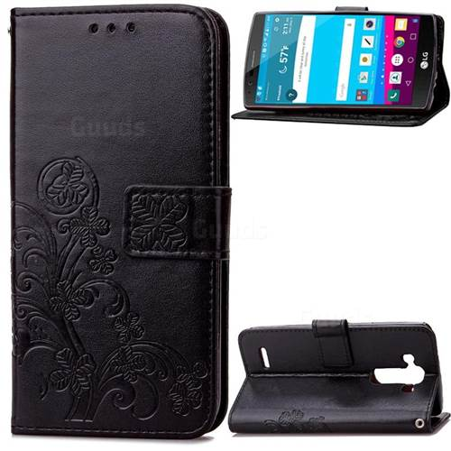 Embossing Imprint Four-Leaf Clover Leather Wallet Case for LG G4 - Black