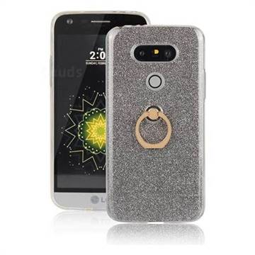 Luxury Soft TPU Glitter Back Ring Cover with 360 Rotate Finger Holder Buckle for LG G5 - Black