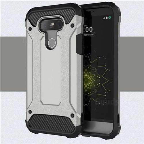 King Kong Armor Premium Shockproof Dual Layer Rugged Hard Cover for LG G5 - Silver Grey