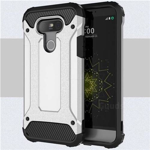 King Kong Armor Premium Shockproof Dual Layer Rugged Hard Cover for LG G5 - Technology Silver