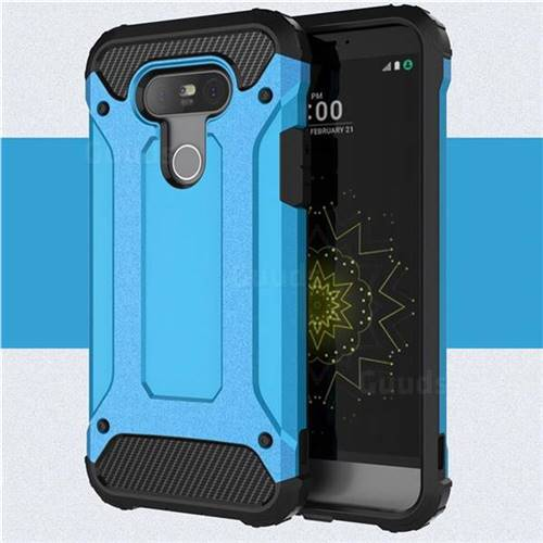 King Kong Armor Premium Shockproof Dual Layer Rugged Hard Cover for LG G5 - Sky Blue