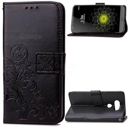 Embossing Imprint Four-Leaf Clover Leather Wallet Case for LG G5 - Black