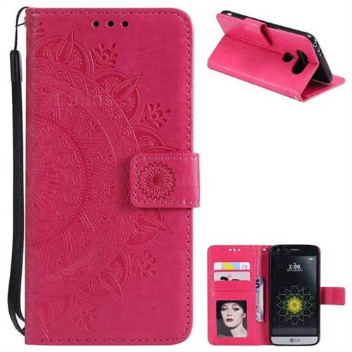 Intricate Embossing Datura Leather Wallet Case for LG G5 - Rose Red