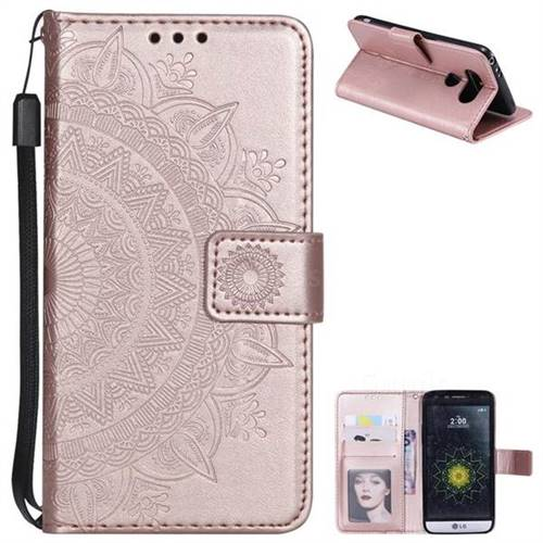 Intricate Embossing Datura Leather Wallet Case for LG G5 - Rose Gold