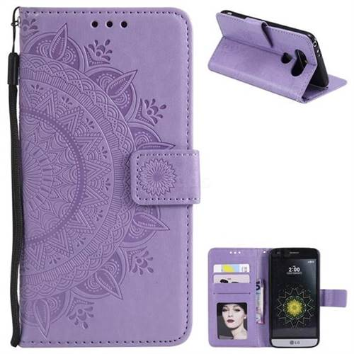 Intricate Embossing Datura Leather Wallet Case for LG G5 - Purple