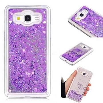 Glitter Sand Mirror Quicksand Dynamic Liquid Star TPU Case for Samsung Galaxy Grand Prime G530 - Purple