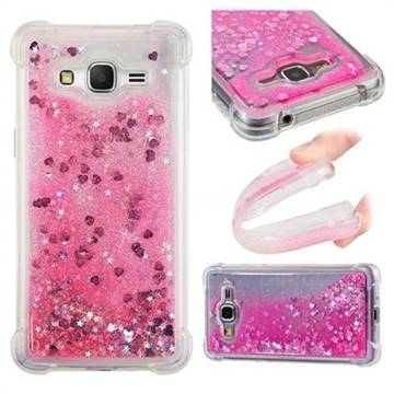 Dynamic Liquid Glitter Sand Quicksand TPU Case for Samsung Galaxy Grand Prime G530 - Pink Love Heart